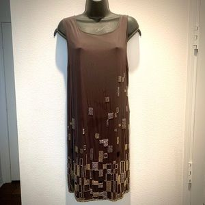 DKNY gold & silver sequined gray pocket silk dress